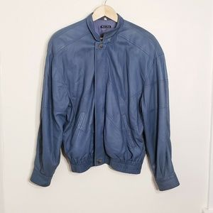 Vintage Bruno Magli Teal Blue Soft Leather Jacket
